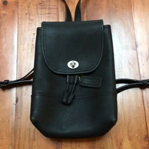 Small black leather back pack